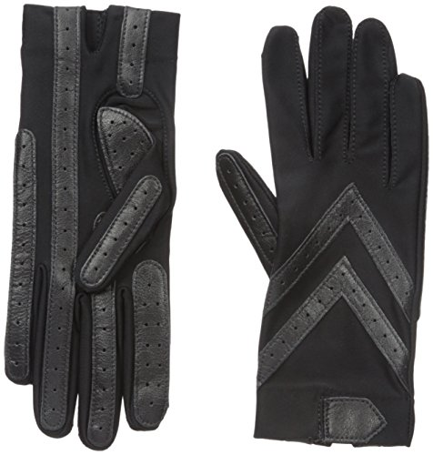 Isotoner Women's Spandex Shortie Gloves with Leather Palm Strips, Black, One Size