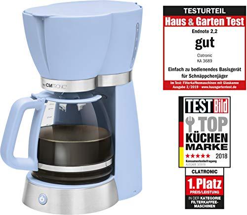 Clatronic KA 3689 Rock\'n\'Retro Filterkaffeemaschine für 15 Tassen, Glaskanne, Tropfstopp, Abschaltautomatik, 1000 W, Blau
