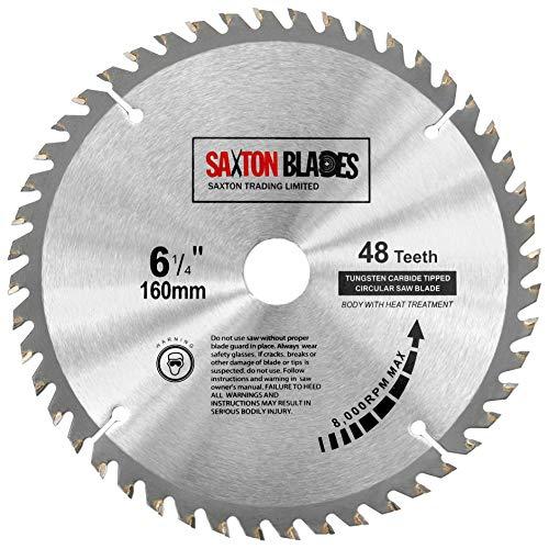 Saxton TCT Circular Holz Sägeblatt 160mm x 20mm x 48T für Festool TS55, Bosch, Makita usw. passt 165mm Lochsägen