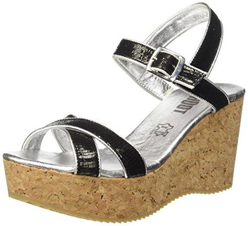 SHOOT - Shoot Shoes Sh-160030cc Damen Sommer Keil Sandalette Wedges, Sandali Donna Nero (Nero (nero))