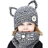 Fletion Kinder Mädchen Jungen Strickmütze Schal Set Unisex Kinder Winter Warme Schlauchschal Beanie Mütze Ohren Cap Set,Marine Blau