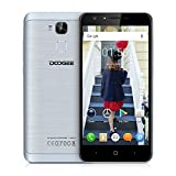 Doogee Y6 Unlocked 4G Smartphone, 5.5 Large Screen Android 6.0 MT6750 Octa Core 1.5GHz with 2GB RAM 16GB ROM Dual SIM Card Mobile Phone with 3200mAh Battery Fingerprint Quick Charge GPS WIFI OTA Bluetooth Smart Wake Gesture Sensing SIM-Free Smart Phone (Grey)
