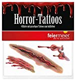 feiermeier® horror tattoos scars 4 sheets Halloween make-up carnival scary tattooed wound scar bloody latex injured spuk children's make-up suitable