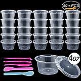 Swallowzy Schleim Behälter, 50PCS 4OZ auslaufsicherer durchsichtiger großer Plastikbehälter mit Deckel, Mischlöffel 2PCS, 3PCS Schleim Werkzeuge
