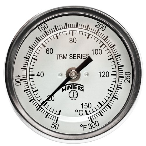 Winters TBM Series Stainless Steel 304 Dual Scale Bi-Metal Thermometer, 9 Stem, 1/2 NPT Fixed Center Back Mount Connection, 3 Dial, 50-300 F/C Range by Winters