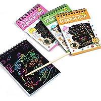 Rokirs Cuaderno de papel multicolor de escritura del rasguño del dibujo con el juguete de madera de la aguja de los niños Juegos educativos