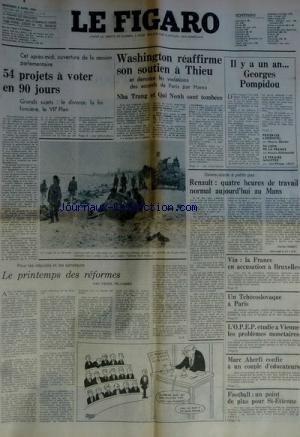 FIGARO du 02/04/1975 - 54 PROJETS A VOTE...