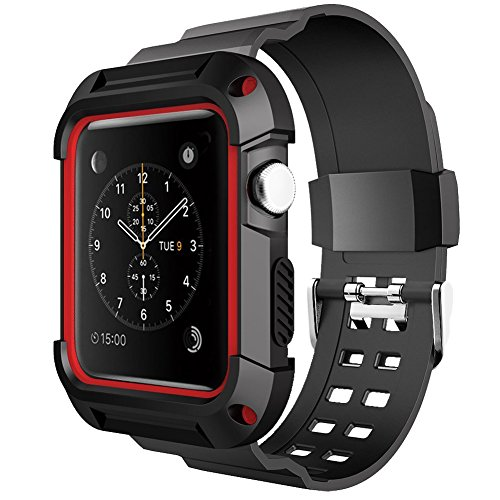 Apple Watch Banda, con funda, ymccool golpes TPU con carcasa resistente negro...