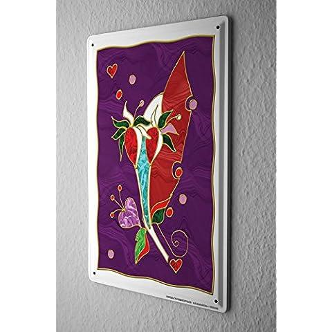 Cartello Targa In Metallo Fantasia Motivo fiori colorati e cuori rossi Decorative Piastra Insegna Metallica 20X30