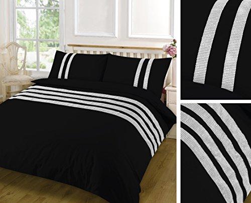 clicktostyle Fancy Spitze 100% Baumwolle Bettwäscheset, Bettbezug-Sets mit Kissen Betten Sets alle Größen (King, schwarz) (Faux Seide Tröster)