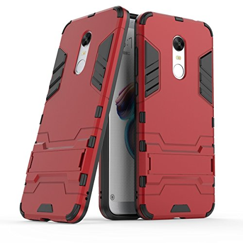 Case for Xiaomi redmi 5 Plus (5,99 inches) 2 in 1 Rugged Hybrid Armor Case Shock Absorption Layer Protection Dual Bumper Case with Kickstand (Red)