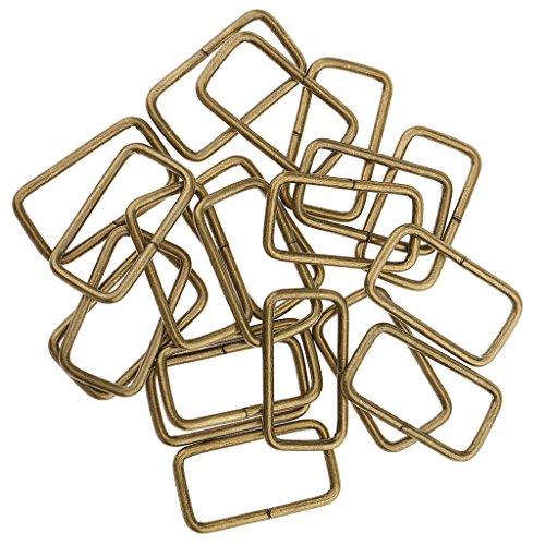 MagiDeal 20 Stück Metall Rechteck Ring keine geschweißt für D Dee Ring Gurtband Gürtel Band Schnallen - Bronze, 32x16x2.8mm