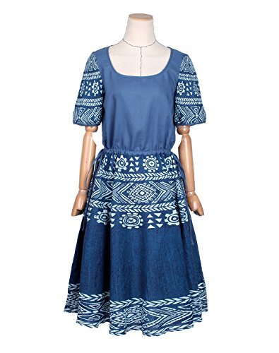 Artka Damen Empire Kleid Blau Blau Blau - Printed
