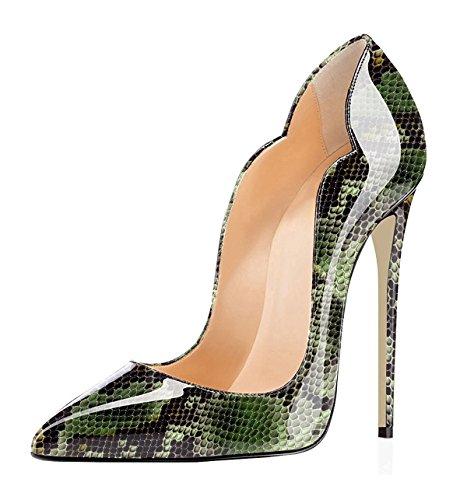 EDEFS Damen Elegant Pumps Hohe Absatz Stiletto Slip-On Schuhe Python-Green EU40 Python Slip-on