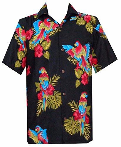 Parrot poliéster negro Aloha de la camisa hawaiana campamento de playa fiesta Man