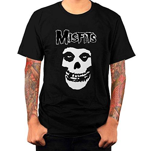 T-shirt Uomo - Misfits maglietta con stampa rock 100% cotonee LaMAGLIERIA,L,Nero
