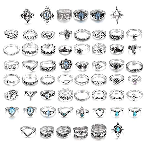 BE STEEL 60 STÜCKE Vintage Knuckle Ringe für Frauen Damen Stapeln Boho Finger Ring Set Krone Feder Elefant Wave Ring Modeschmuck