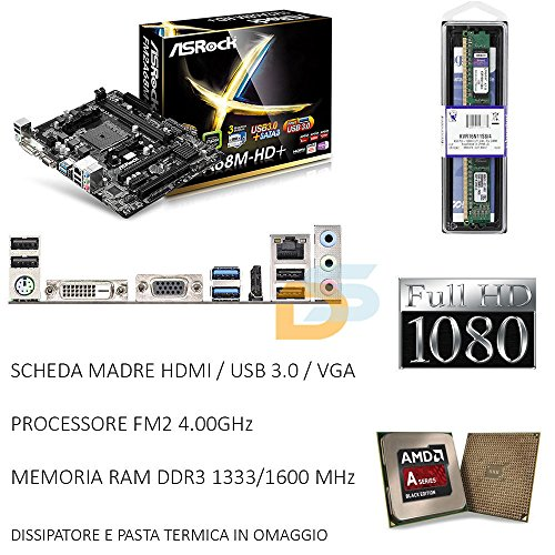 UPGRADE SCHEDA MADRE HDMI USB 3.0 + CPU FM2 3,80 GHZ + RAM 8GB BUNDLE GAMING