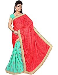 Khyati's Collections Lycra Saree With Blouse Piece (Pink Sky Blue_Free Size)