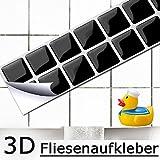 7 série Set 25,3 x 3,7 cm Grandora Mosaïque 3D autocollant pour carrelage w5192 auto-adhésif cuisine salle de bain Stickers muraux Tuiles décoratives Film Noir