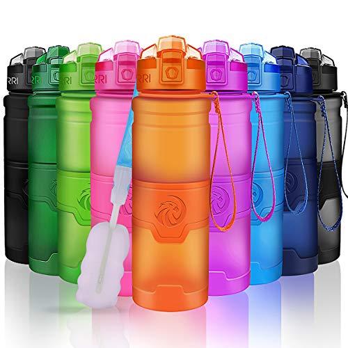 ZORRI Sport Wasserflasche Trinkflasche Bpa Frei Tritan Schule Sportflasche - Orange - 700ml-24oz