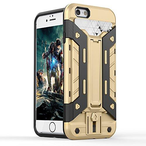 FOGEEK Schutzhülle iPhone 6 Hülle : [Transformer ] Hybrid Armor Defender Case Stoßfest Schutz Tasche Schutzhülle für iPhone 6/6s mit Kartenfach und Ständer-red + balck - gold +black