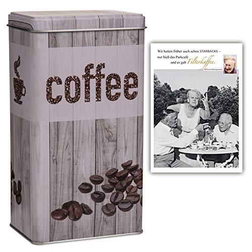 +d Metall Kaffeedose Vintage Look & Postkarte Filterkaffee - Set ~ (Grau)