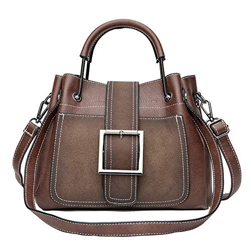 Schulter Messenger Bag Damen Tasche Korean Fashion Scrub Schulter Messenger Bag Retro Zangen, Dunkelbraun