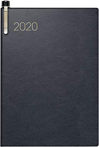 BRUNNEN 107135290 Taschenkalender Modell 713 (2 Seiten = 1 Woche, 7,2 x 10,2 cm, Leder-Einband, Kalendarium 2020, mit Kugelschreiber) schwarz