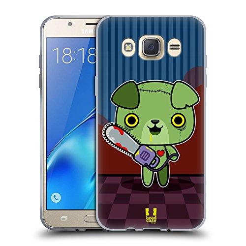 Head Case Designs Hungrige Welpe Kawaii Zombie Soft Gel Hülle für Samsung Galaxy J7 - Erhöhte Schalen Welpen