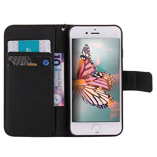 iPhone 8 Plus 5.5 Zoll Hülle Leder für iPhone 7 Plus,iPhone 8 Plus Hülle Rosa,iPhone 7 Plus Wallet Handytasche Blumen Hülle,iPhone 8 Plus Flip Cover Leder Etui Lederhülle Case,iPhone 7 Plus Hülle für  Cartoon Elephant 8