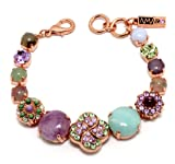 Israeli Amaro Jewelry Studio 'Spring Vibration' Collection 24K Rose Gold Plated Bracelet with Flower Links, Fancied with Cape Amethyst, Purple Jadeite, Variscite, Labradorite, Swarovski Crystals