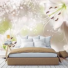 FOTOMURAL Floral 366cm x 254cm lirio floral purpurina PAPEL Pintado TAPIZ MURAL livingdecoration