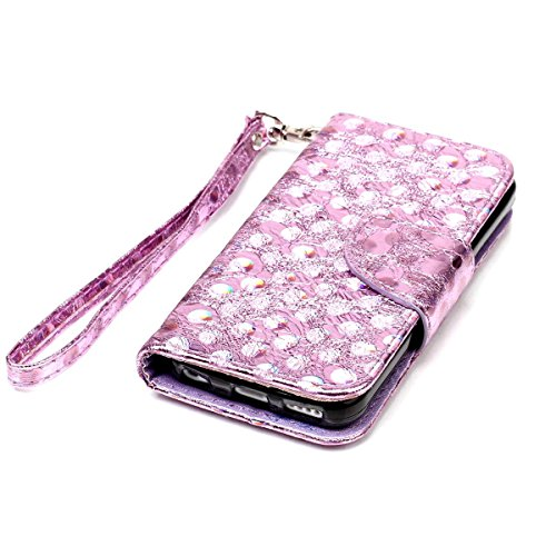 iPhone 5C Hülle, SHUNDA Brieftasche Schutzhülle Flip Leder Handyhülle mit Kippständer Bling Schmetterling Bookstyle Handycover für iPhone 5C - Lavendel Lavendel