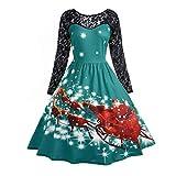 Soupliebe Damenmode Spitze Langarm Print Weihnachten Party Swing Dress Abendkleider Cocktailkleid Partykleider Blusenkleid