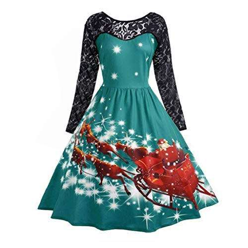 (Luckycat Damenmode Spitze Langarm Print Weihnachten Party Swing Dress Abendkleider Cocktailkleid Partykleider Blusenkleid Mode 2018)