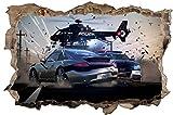 Polizei Helikopter Verfolgungsjagd Wandtattoo Wandsticker Wandaufkleber D0545 Größe 70 cm x 110 cm