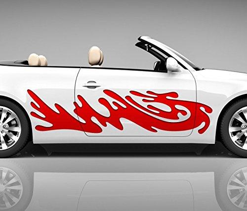 lut Tropfen 3D Autoaufkleber Digitaldruck Seite Auto Tuning bunt Aufkleber Rennstreifen Seitenstreifen Airbrush Racing Autofolie Car Wrapping Motorrad LKW Decals Sticker Tribal Seitentribal CW088, Größe Seiten LxB:ca 120x30cm ()