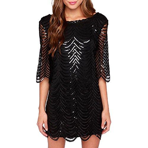 LAEMILIA Damen Kleid Clubwear mit Pailletten Aushöhlen Rückenfrei Elegant Partykleid Cocktailkleid Hochzeit Nachtclub
