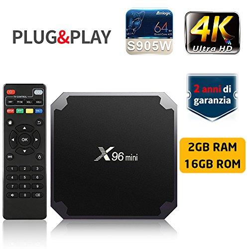 TV BOX SUNNZO X96 Mini Pro Android 7.1 4K Mini/Dispositivo streaming per TV con Amlogic S905W 64 Bit 2GB+16GB eMMC, Wifi, H.265(2+16GB)