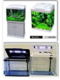 15L/33L/70L/90L Aquarium Fish Tank with Integrated LED Light and optional Cabinet/Stand (15L, White)