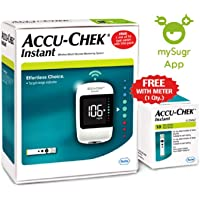 Accu-Chek Instant glucometer with 10 test strips FREE (White)