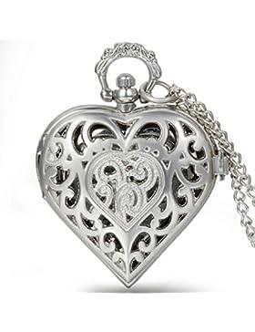 JewelryWe Vintage Taschenuhr Damen Herz Kettenuhr Analog Quarz Uhr mit Halskette Umhängeuhr Pocket Watch Muttertag...