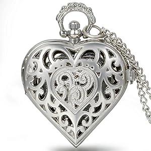 JewelryWe Vintage Taschenuhr Damen Herz Kettenuhr Analog Quarz Uhr mit Halskette Umhängeuhr Pocket Watch, Silber