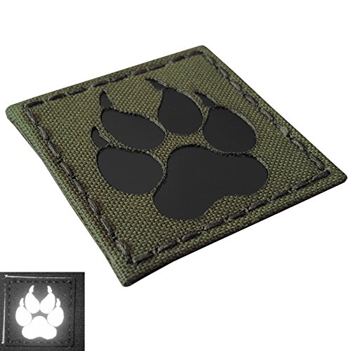 Olive Drab OD Green Infrared IR K9 Dog Handler Paw K-9 2x2 Tactical Morale Fastener Patch Od-olive Drab