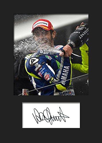 Valentino Rossi #2   Signierter Fotodruck   A5 Größe passend für 6x8 Zoll Rahmen   Maschinenschnitt   Fotoanzeige   Geschenk Sammlerstück