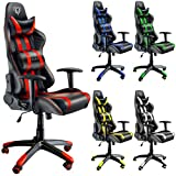 Diablo X-One Sedia da Gaming, Sedia Scrivania, Sedi di gioco Racing Gaming Chair (nero-rosso)