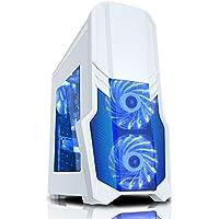 CiT G Force - Alloggiamento per PC da gioco, con ventola a 15 LED blu frontale, colore: bianco - Colorata Tessuto Blu