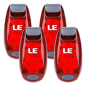 LE Luces LED para correr y salida nocturna, más BONO, 3 modos, luz trasera de bicicleta, luz de advertencia, alta visibilidad, luz con clip para jogging, ciclismo, collar de mascota etc, pack de 4