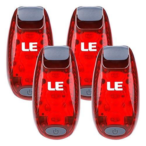LE 4er Sicherheitslicht, Rot Sicherheitsclip, klemmbare Warnleuchtenclips für Spaziergang, Jogger, Hundehalsband usw. - Zusätzliche Beleuchtung